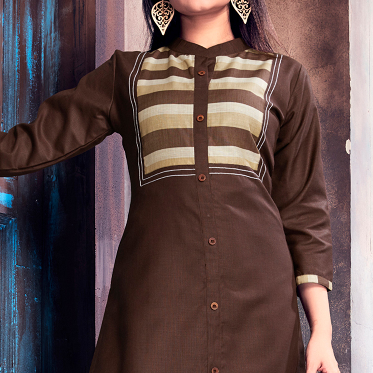 Groovy Brown Colored Casual Printed Cotton Palazzo Suit
