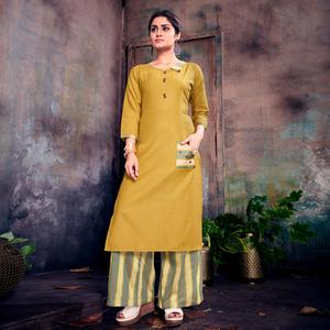 Attractive Yellow Colored Casual Printed Cotton Palazzo Suit