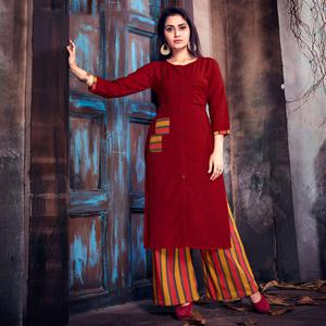 Trendy Maroon Colored Casual Printed Cotton Palazzo Suit