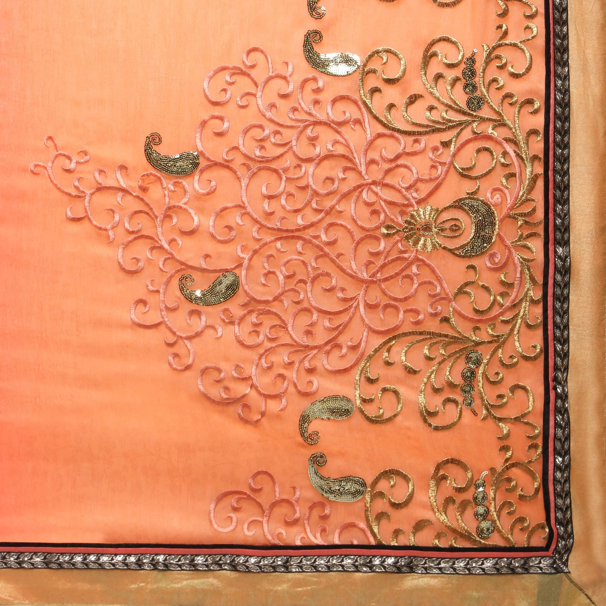 Peach - Grey Embroidered Partywear Saree