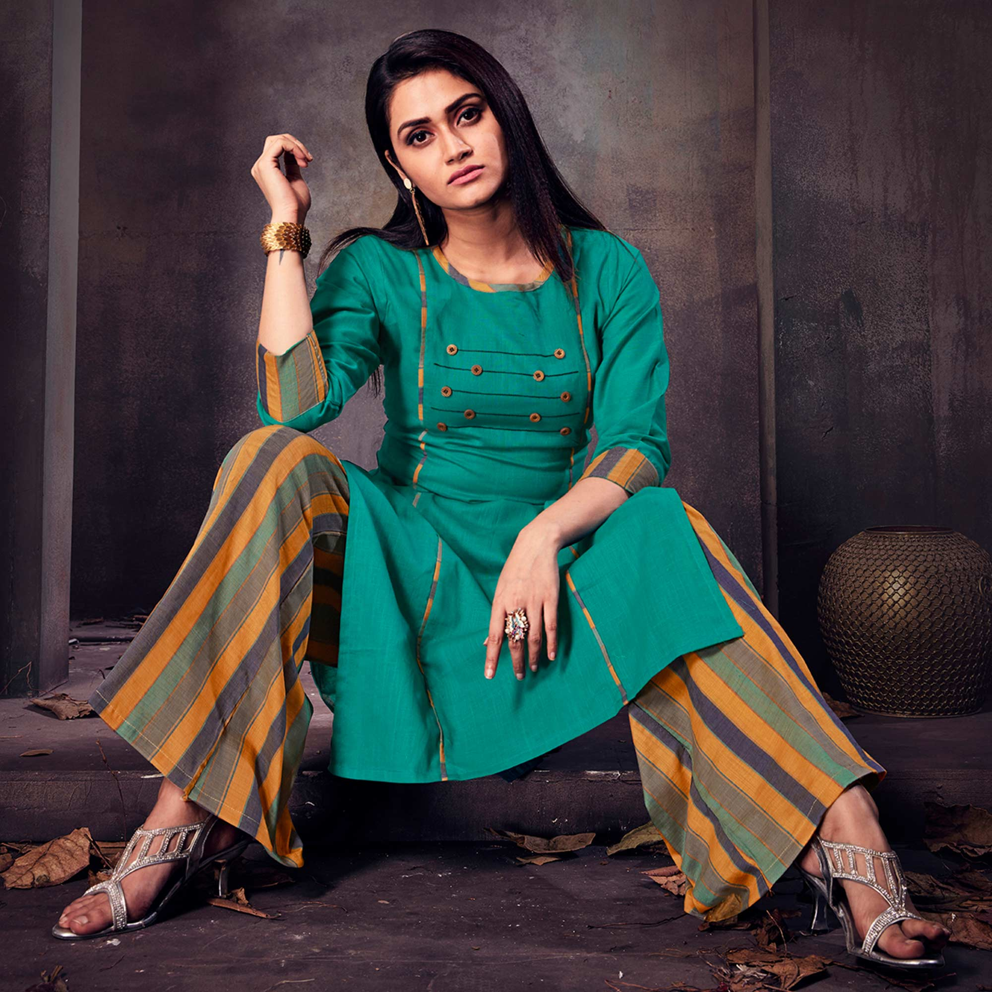 Appealing Rama Green Colored Casual Printed Cotton Palazzo Suit