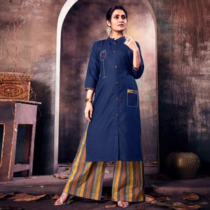 Desiring Navy Blue Colored Casual Printed Cotton Palazzo Suit