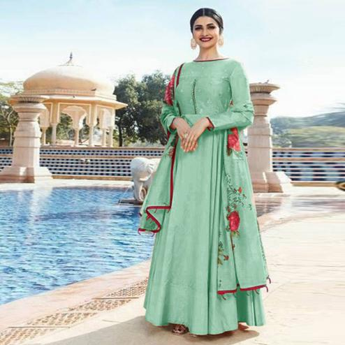 Exceptional Mint Green Colored Partywear Embroidered Sana Silk Anarkali Suit