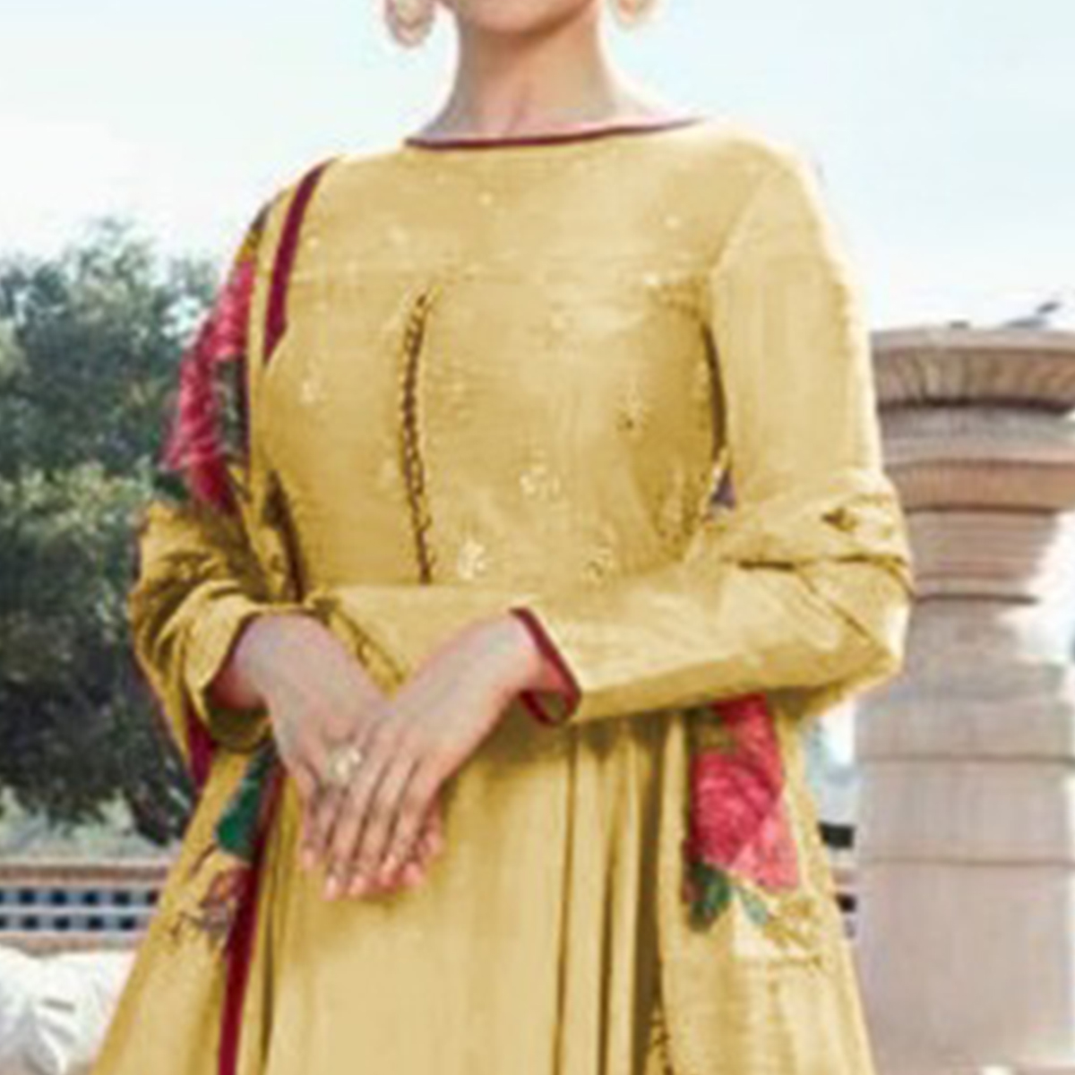 Marvellous Yellow Colored Partywear Embroidered Sana Silk Anarkali Suit