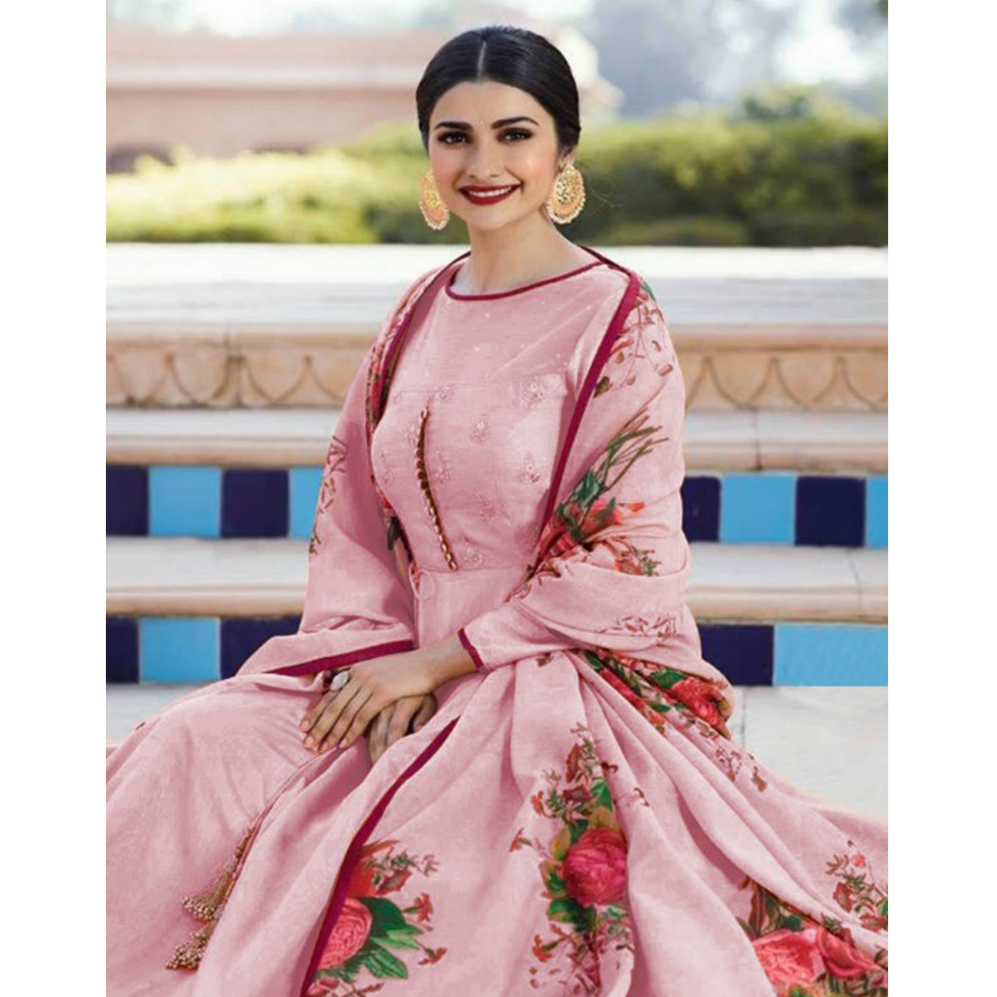 Desirable Pink Colored Partywear Embroidered Sana Silk Anarkali Suit