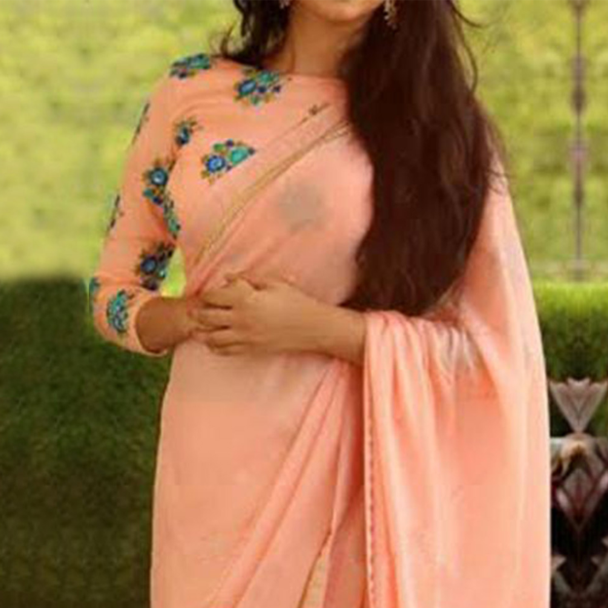 Peach Saree with Floral Embroidered Blouse