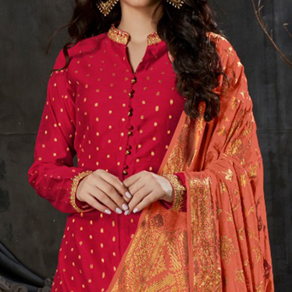 Mesmeric Deep Pink Colored Partywear Embroidered Banarasi Silk Palazzo Suit
