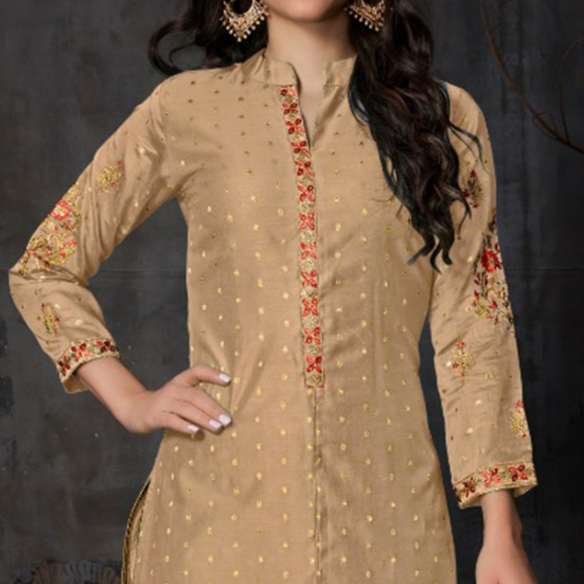 Arresting Beige Colored Partywear Embroidered Banarasi Silk Palazzo Suit