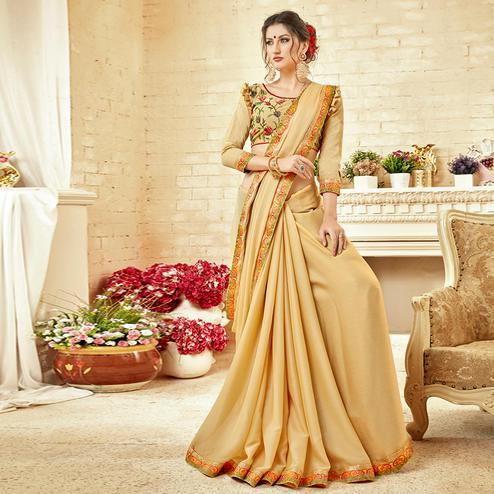 Appealing Beige Colored Partywear Embroidered Chiffon Saree