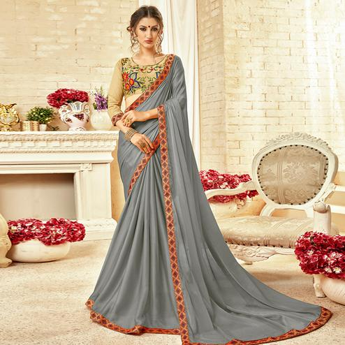Groovy Gray Colored Partywear Embroidered Silk Georgette Saree