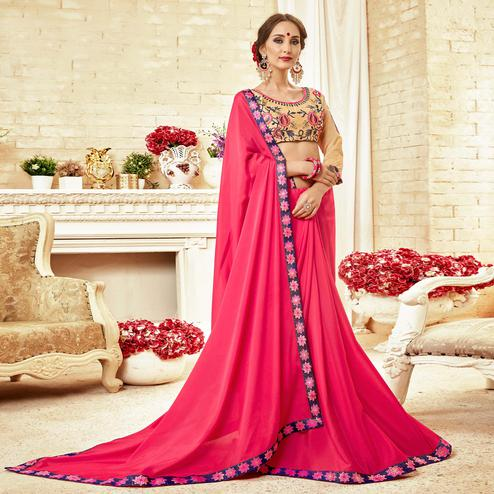Magnetic Dark Pink Colored Partywear Embroidered Silk Georgette Saree