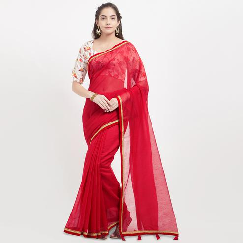 Red Saree with Digital Printed Blouse