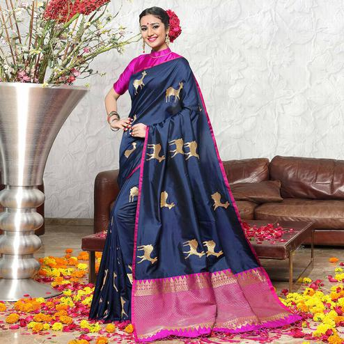 Elegant Navy Blue Colored Festive Wear Woven Banarasi Art Silk Saree