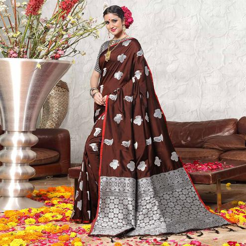 Desiring Brown Colored Festive Wear Woven Banarasi Art Silk Saree