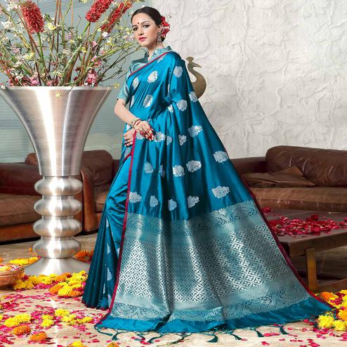 Adorning Blue Colored Festive Wear Woven Banarasi Art Silk Saree