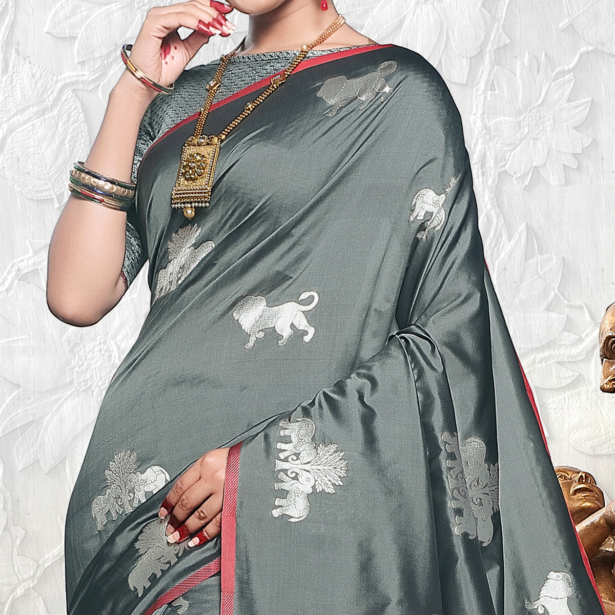 Staring Gray Colored Festive Wear Woven Banarasi Art Silk Saree