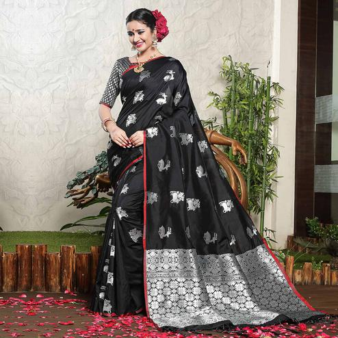 Gorgeous Black Colored Festive Wear Woven Banarasi Art Silk Saree