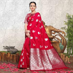 Charming Red Colored Festive Wear Woven Banarasi Art Silk Saree