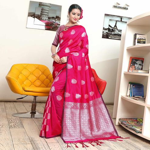 Amazing Fuschia Pink Colored Festive Wear Woven Banarasi Art Silk Saree