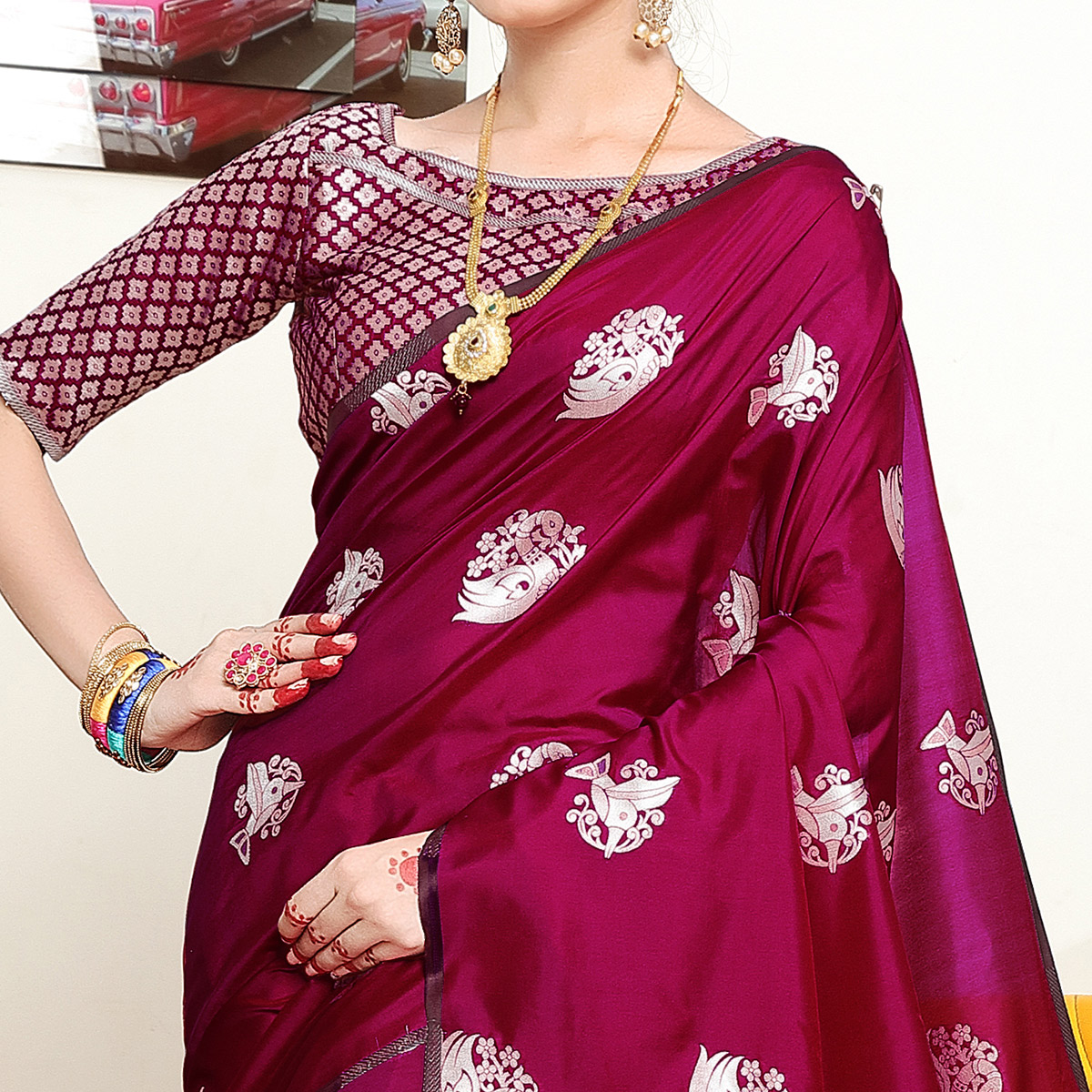 Exceptional Magenta Pink Colored Festive Wear Woven Banarasi Art Silk Saree