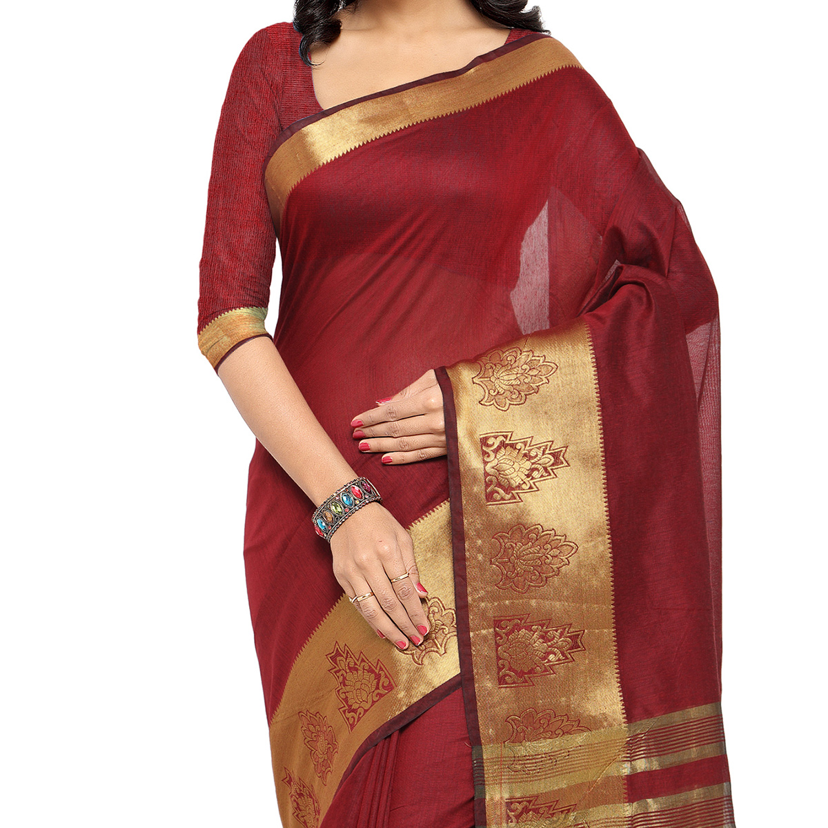 Maroon Polyester Cotton Silk Saree