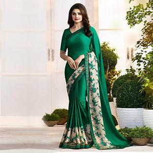 Dark Green Chevron & Floral Print Saree