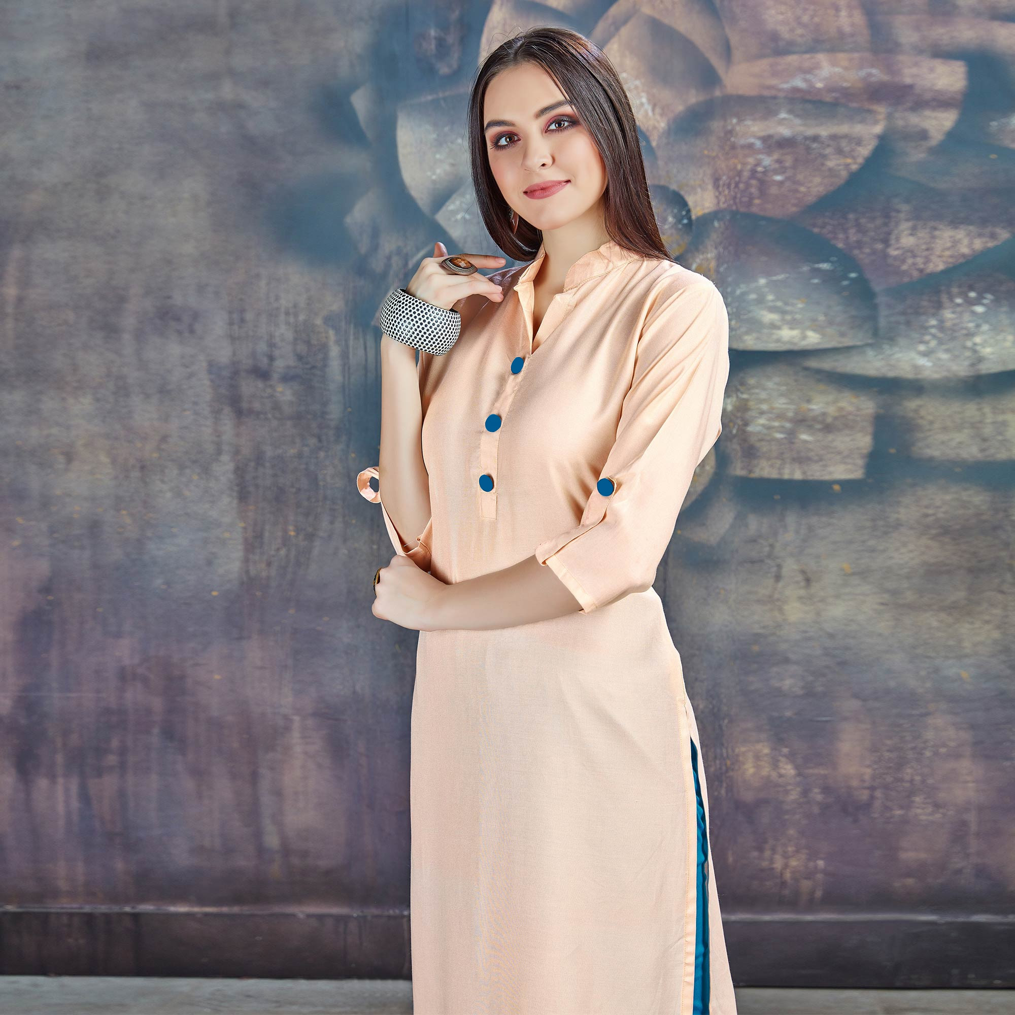 Beautiful Light Peach Casual Wear Rayon Kurti