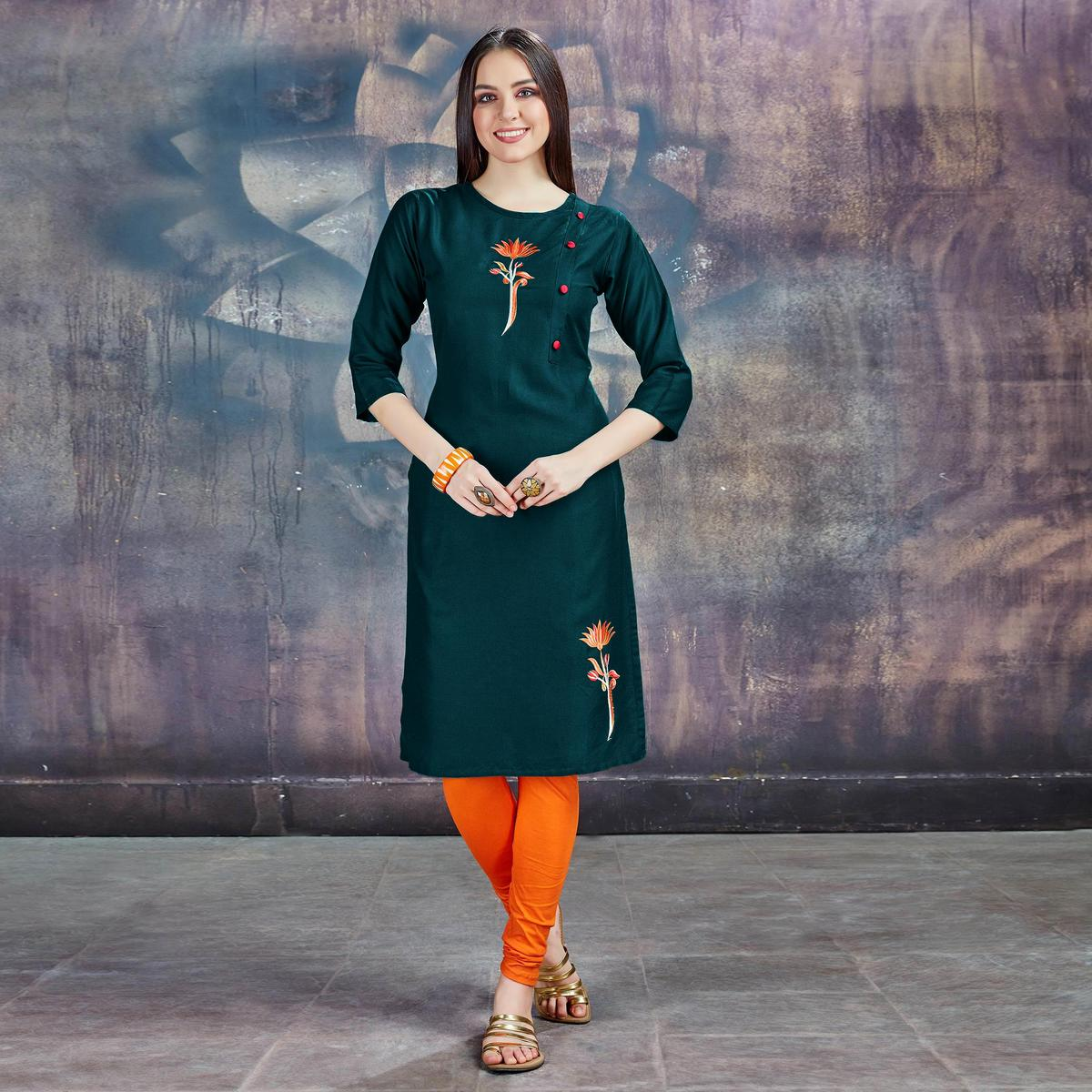 Unique Mehendi Green Colored Casual Embroidered Rayon Kurti