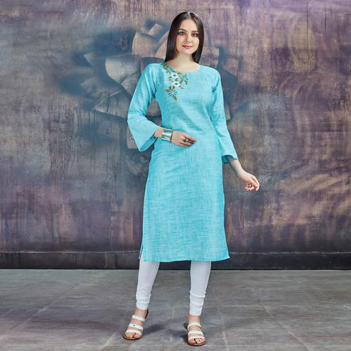 Glowing Sky Blue Colored Casual Embroidered Cotton Kurti