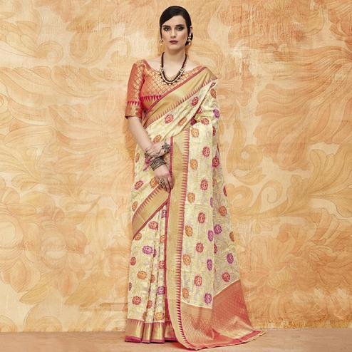 Attractive Cream Colored Festive Wear Woven Silk Saree