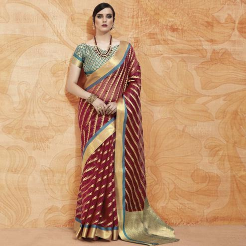 Beautiful Maroon Colored Festive Wear Woven Silk Saree