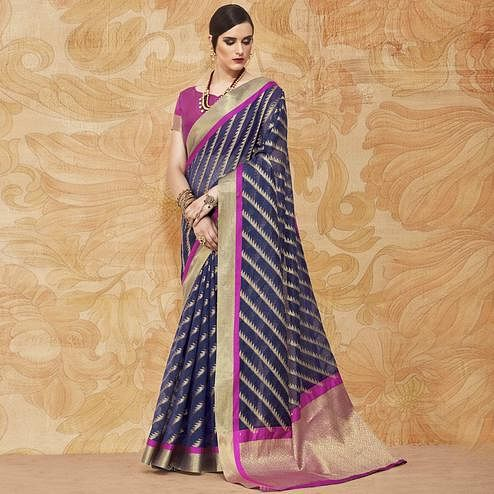 Gorgeous Navy Blue Colored Festive Wear Woven Silk Saree
