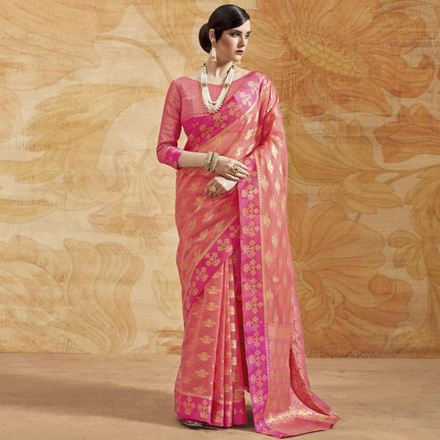Classy Pink Colored Festive Wear Woven Silk Saree