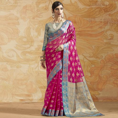 Refreshing Deep Pink Colored Festive Wear Woven Silk Saree