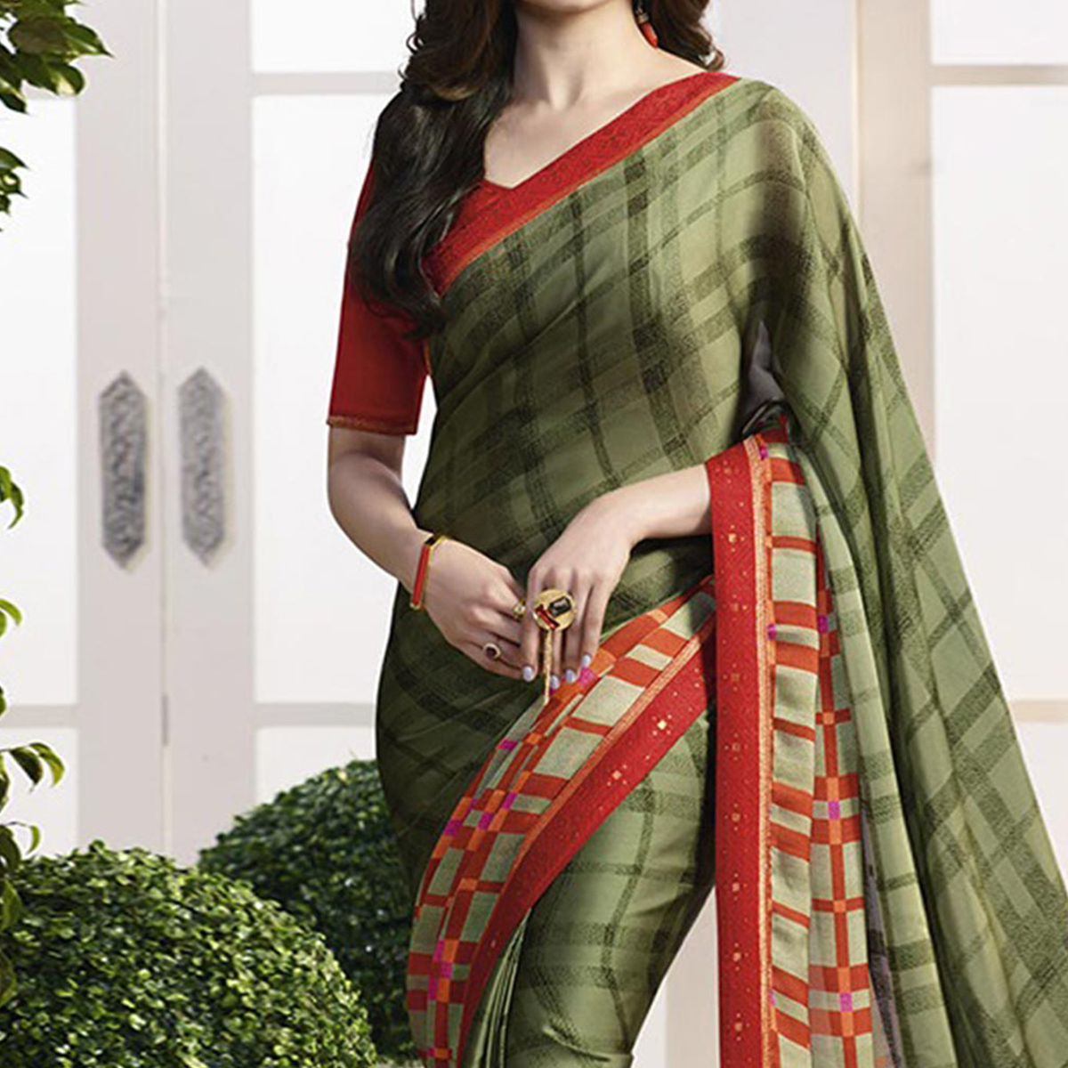 Olive Green Checkered Print Georgette Saree