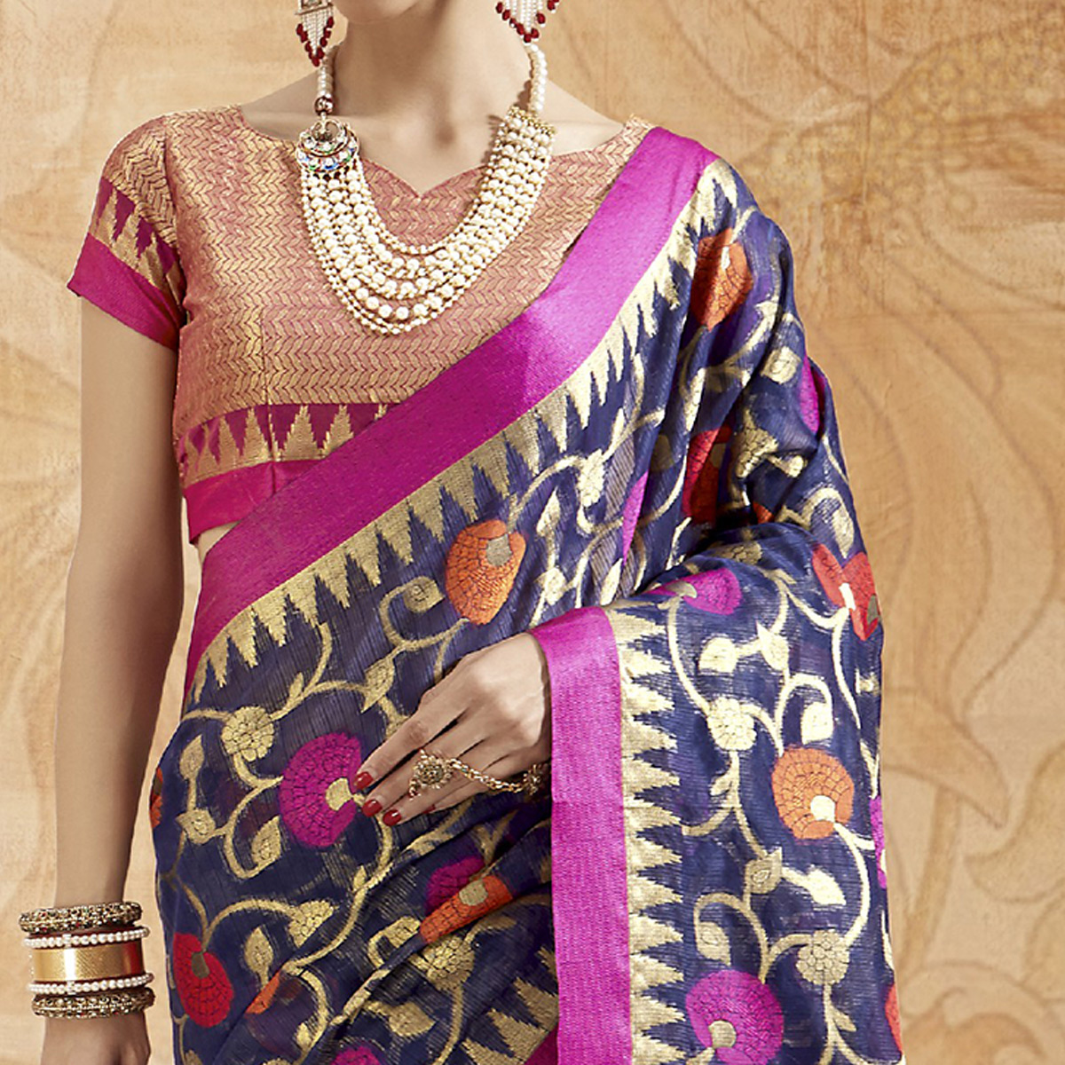 Alluring Navy Blue Colored Festive Wear Woven Silk Saree