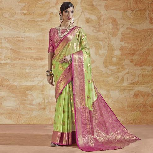 Sensational Green Colored Festive Wear Woven Silk Saree