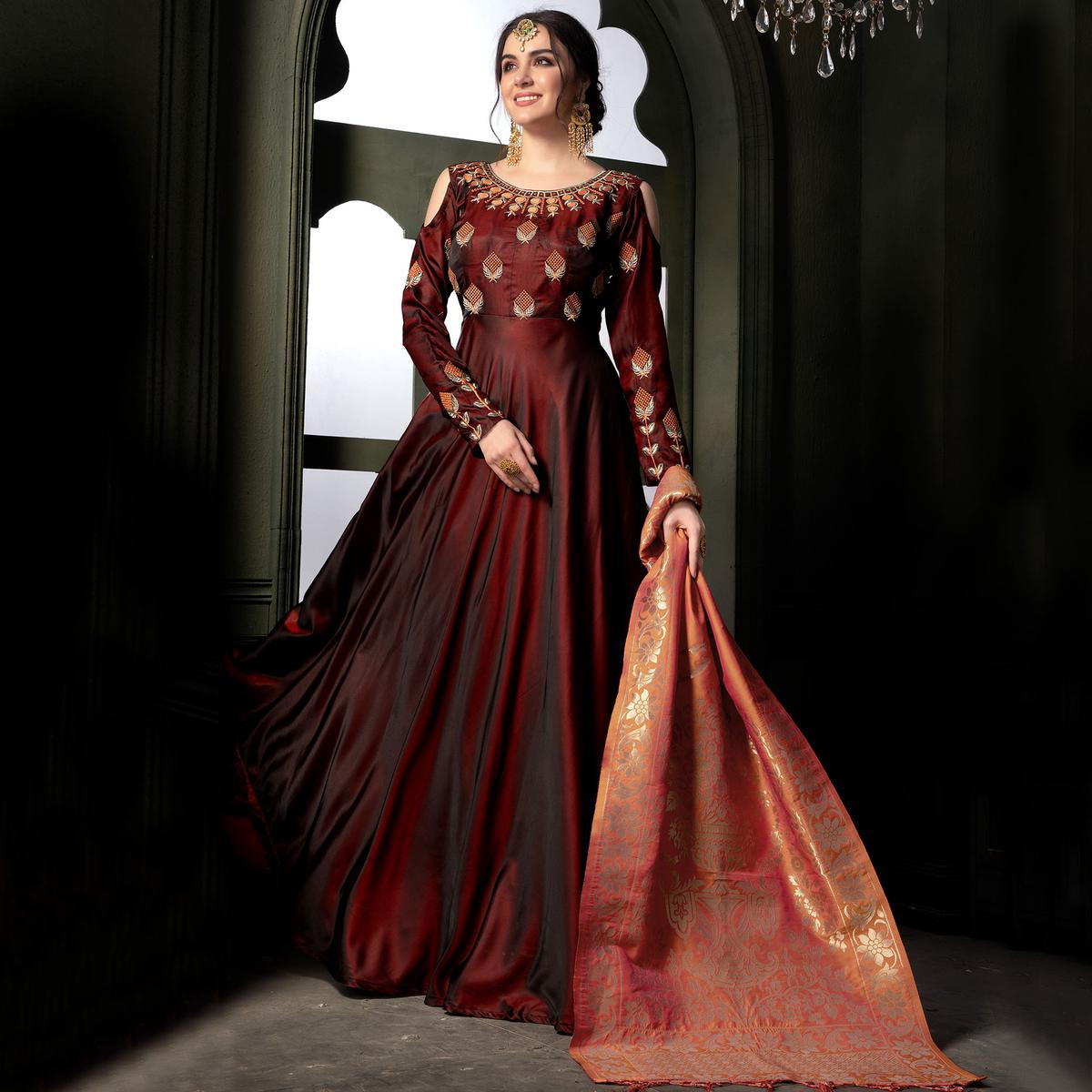 Jazzy Maroon Colored Party Wear Embroidered Tapeta Silk Anarkali Suit