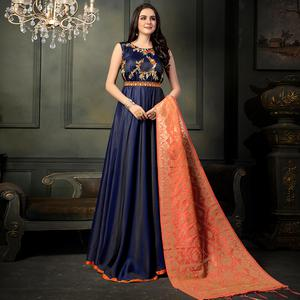 Appealing Navy Blue Colored Party Wear Embroidered Tapeta Silk Anarkali Suit