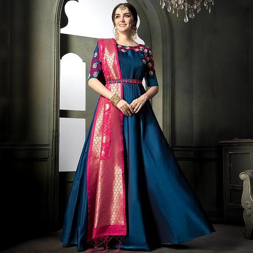 Groovy Blue Colored Party Wear Embroidered Tapeta Silk Anarkali Suit