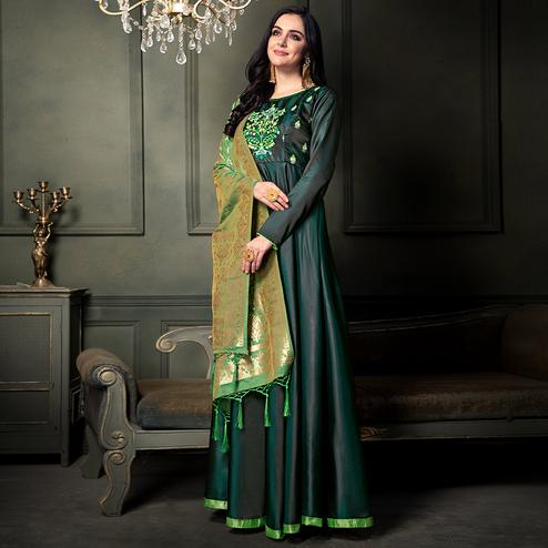 Adorning Green Colored Party Wear Embroidered Tapeta Silk Anarkali Suit