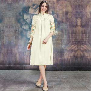 Elegant Cream Colored Casual Embroidered Rayon Kurti