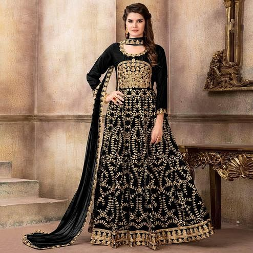 Elegant Black Colored Party Wear Embroidered Art Silk Anarkali Suit