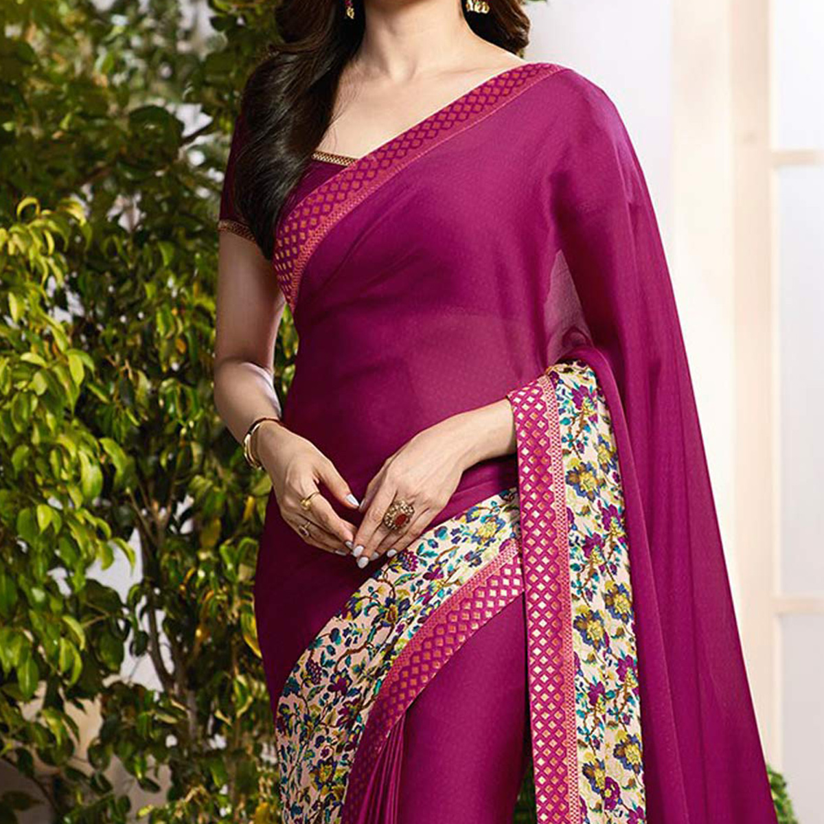 Purple Floral Printed Georgette Saree