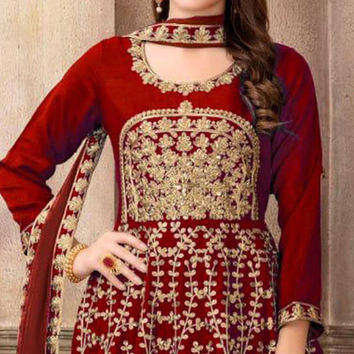 Alluring Maroon Colored Party Wear Embroidered Art Silk Anarkali Suit