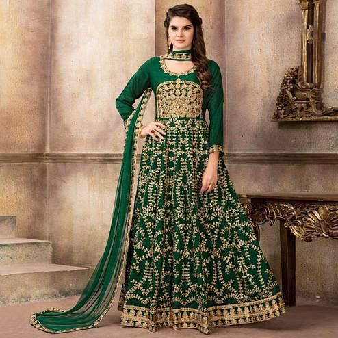 Radiant Green Colored Party Wear Embroidered Art Silk Anarkali Suit