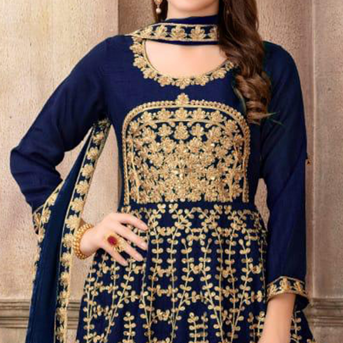 Sensational Navy Blue Colored Party Wear Embroidered Art Silk Anarkali Suit