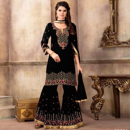 Dazzling Black Colored Party Wear Embroidered Faux Georgette Palazzo Suit