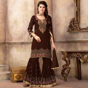 Flattering Brown Colored Party Wear Embroidered Faux Georgette Palazzo Suit