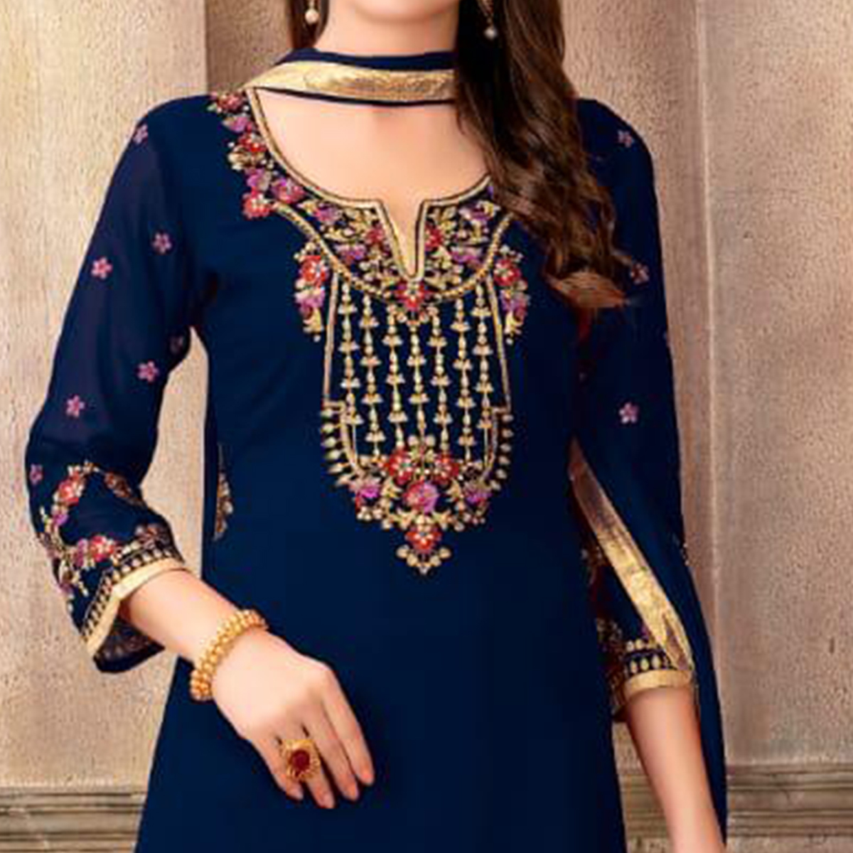 Breathtaking Navy Blue Colored Party Wear Embroidered Faux Georgette Palazzo Suit